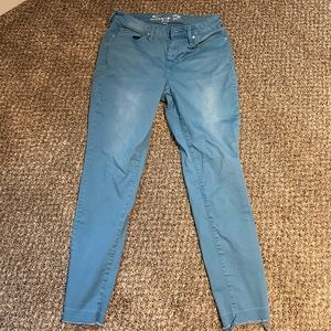 Seven7 Blue Mid Rise Ankle Skinny Jeans